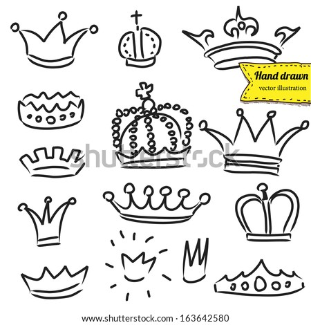 Crowns set in vector, doodle illustration, hand drawn design element isolated - stock vector