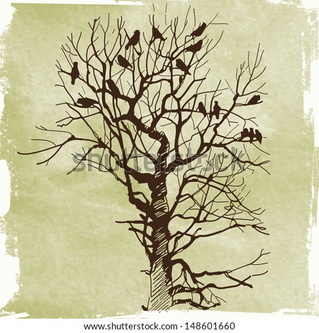 crows on an old tree - stock vector