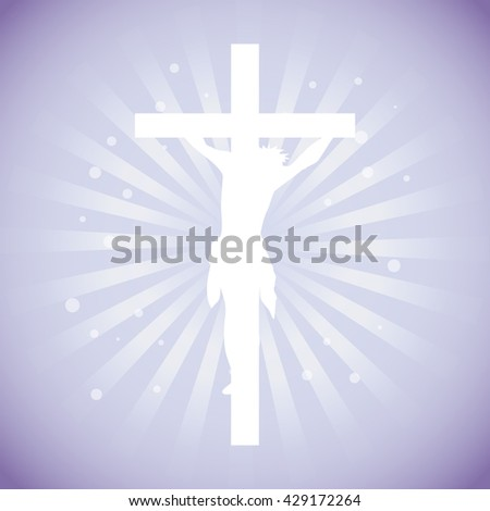 Crucifix. Crucifixion of Jesus Christ flat icon for religious apps - stock vector