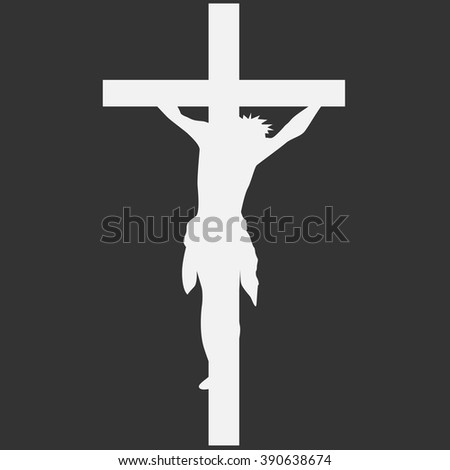 Crucifix. Crucifixion of Jesus Christ flat icon for religious apps and websites. Easter. - stock vector