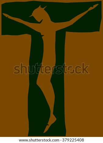 Crucifix. Jesus Christ on the cross. Resurrection. Jesus Christ, blessing, Christianity. - stock vector