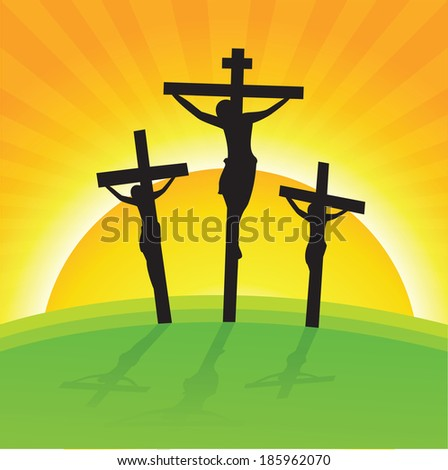 Crucifixion, Good Friday. Vector illustration of Good Friday Easter Day Crosses with Sun Rays Background. - stock vector