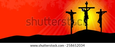Crucifixion of Jesus Christ- Three Crosses at Sunset- time line cover - stock vector
