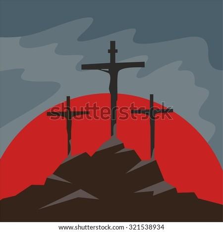 Crucifixion, three crosses, cross, crucifix, good friday, icon - stock vector
