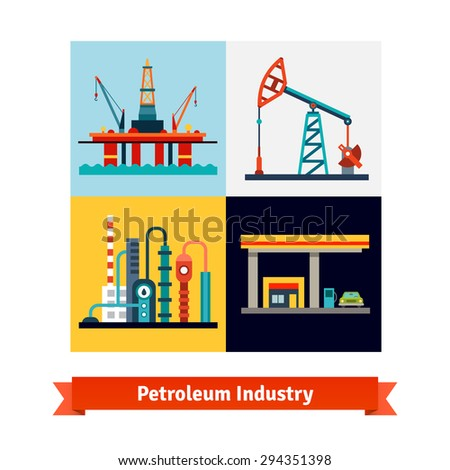 Crude oil extraction, refining and selling business. Sea petroleum rig, pump, refinery and gas station. Flat style isolated vector illustration. - stock vector