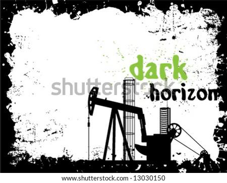 Crude Oil pump Dark Horizon - stock vector
