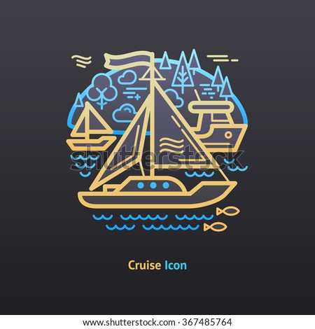 Cruise icon. Part of the travel vacation icon set.  - stock vector