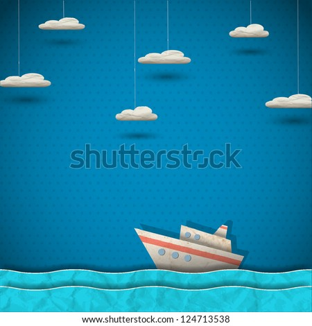 Cruise liner and clouds. Vector paper-art - stock vector