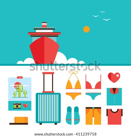 Cruise liner boat background and Summer vacation design elements set Vector illustration - stock vector