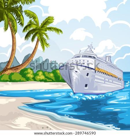Cruise liner on the coastline - stock vector