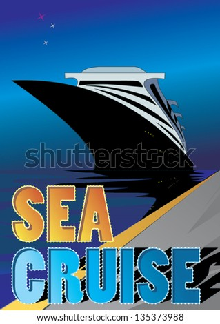 cruise liner staying near the pier at night - stock vector