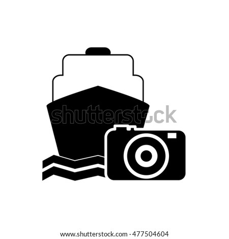 cruise ship and photographic camera icon