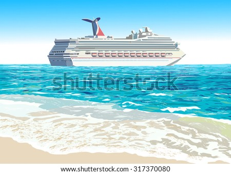 Cruise ship and tropical beach, vector illustration