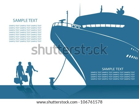 Cruise ship background - vector illustration - stock vector