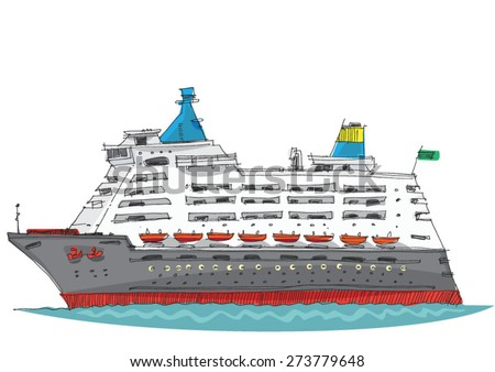 cruise ship - cartoon - stock vector