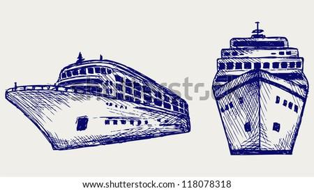 Cruise ship. Doodle style - stock vector