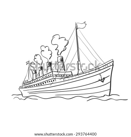 Cruise ship. Doodle style. Excellent vector illustration, EPS 10 - stock vector