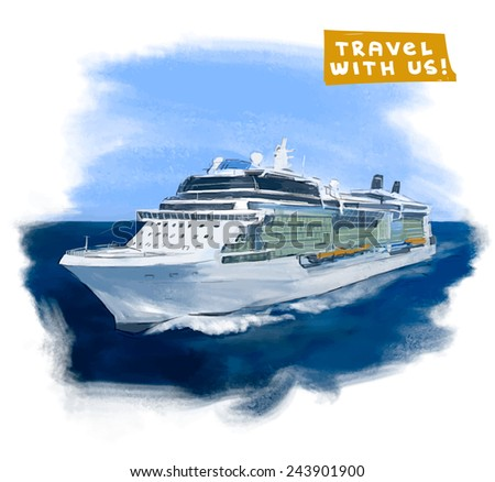 Cruise ship hand drawn vector colorful illustration  - stock vector