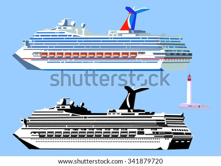 Cruise ship, high detail, black-and-white and color. Isolated on blue, vector illustration - stock vector