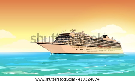 Cruise ship. Holiday travel poster. Vector illustration.