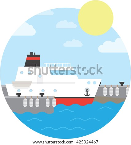 Cruise ship in the port. Yacht on the water. Vector illustration of round background