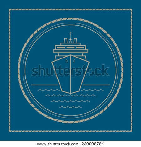 Cruise ship ,marine emblem with passenger ship or carrier, retro ornament liner, vector illustration - stock vector