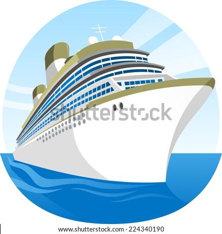 Cruise Ship Sea Holidays vector illustration cartoon. - stock vector