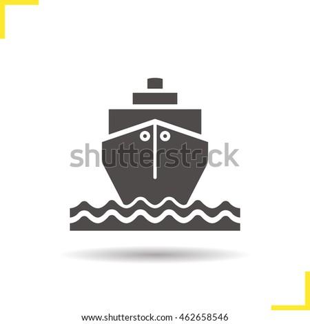 cruise ship waves icon drop shadow stock vector 462658546