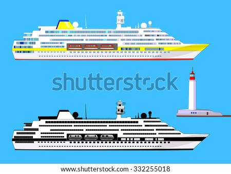 Cruise ships, colored and black-and-white, lighthouse, isolated on blue, vector illustration - stock vector