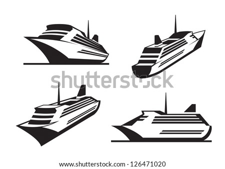 Cruise ships in perspective - vector illustration - stock vector