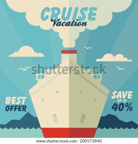 Cruise vacation and travel vintage illustration in flat design style - stock vector