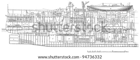 Cruiser Infanta Maria Teresa (Spain) / vintage illustration from Meyers Konversations-Lexikon 1897 - stock vector