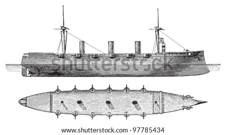 Cruiser Kaiserin Augusta (Germany) / vintage illustration from Meyers Konversations-Lexikon 1897 - stock vector