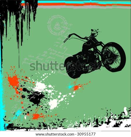 cruiser motorcyle grunge vector - stock vector