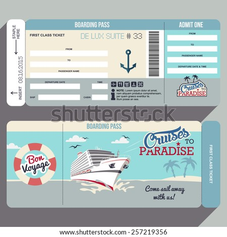 Cruises Paradise Cruise Ship Boarding Pass Stock Vector 257219356