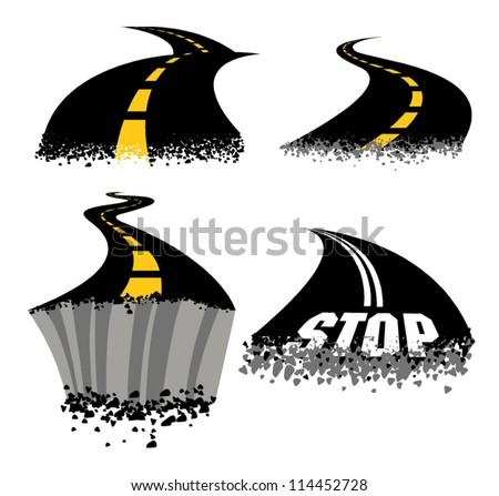 Crumbling Roads - stock vector