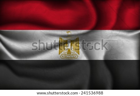 crumpled flag of Egypt on a light background. - stock vector