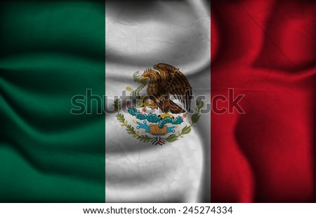 crumpled flag of Mexico on a light background. - stock vector