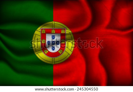 crumpled flag of Portugal on a light background.