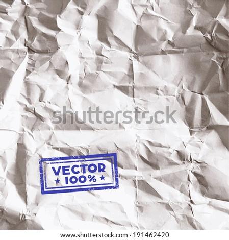 Crumpled paper background in vector - stock vector