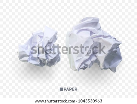 crumpled paper ball isolated on transparentのベクター画像素材