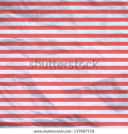 Crumpled paper design with red stripes. Vector illustration. - stock vector