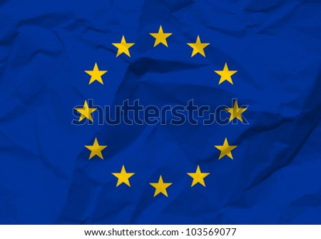 Crumpled paper European union flag textured background. Vector illustration.