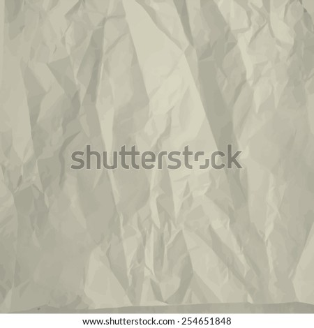 Crumpled paper sheet background - stock vector