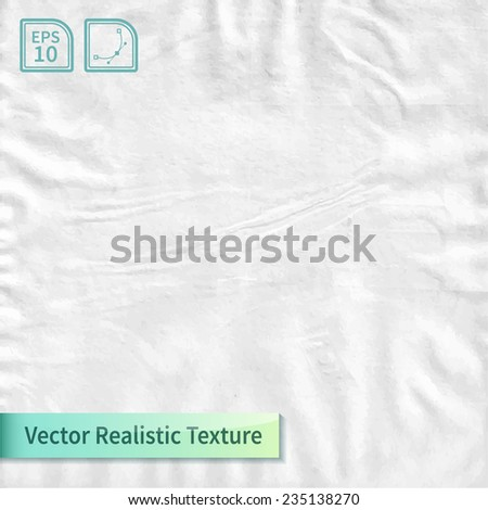 Crumpled paper sheet. Wrapping paper texture. Realistic vector photo texture for your design. - stock vector