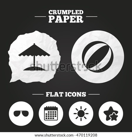 Crumpled paper speech bubble. Beach holidays icons. Ball, umbrella and sunglasses signs. Summer sun symbol. Paper button. Vector