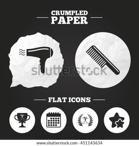 Crumpled paper speech bubble. Hairdresser icons. Scissors cut hair symbol. Comb hair with hairdryer symbol. Barbershop laurel wreath winner award. Paper button. Vector - stock vector