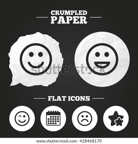 Crumpled paper speech bubble. Smile icons. Happy, sad and wink faces symbol. Laughing lol smiley signs. Paper button. Vector - stock vector