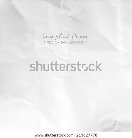 Crumpled paper texture for design, greeting cards, invitations. Vector illustration. - stock vector