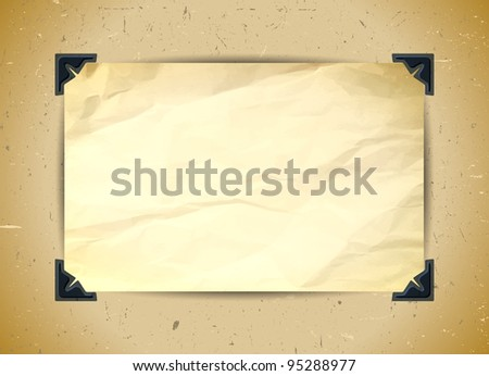 Crumpled paper with photo corners - stock vector